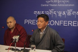 Speaker Penpa Tsering and Deputy Speaker Khenpo Sonam Tenphel of the Tibetan Parliament-in-Exile at the press Conference
