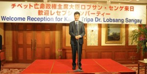 Kalon Tripa Dr Lobsang Sangay addressing the welcome reception organised by the Liaison Office of His Holiness the Dalai Lama in Tokyo on 1 April 2012