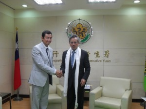 Health Kalon Dr Tsering Wangchuk with Taiwan's minister of Health Mr Wen-Ta Chiu in Taipei on 11 April 2012
