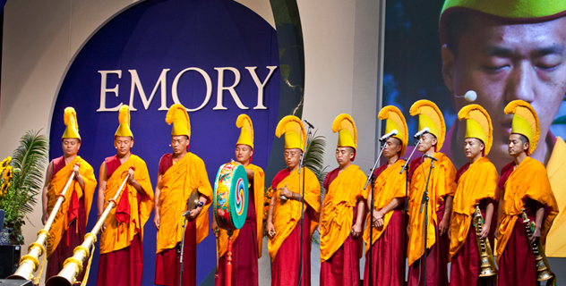Monks from Drepung Loseling Monastery performing before His Holiness the Dalai Lama's talk at the Gwinnet Arena in Atlanta, Georgia, on October 8, 2012. Photo/Emory University