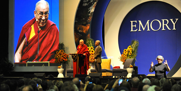 His Holiness the Dalai Lama speaking during his talk on 'The Pillars of Responsible Citizenship in the 21st Century Global Village' at the Arena at the Gwinnet Center in Atlanta, Georgia, on October 8, 2012. Photo/Sonam Zoksang