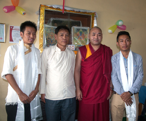 Deputy Speaker Khenpo Sonam Tenphel and Mr Dawa Phunkyi of the Tibetan Parliament-in-Exile with the two physiotherapists.