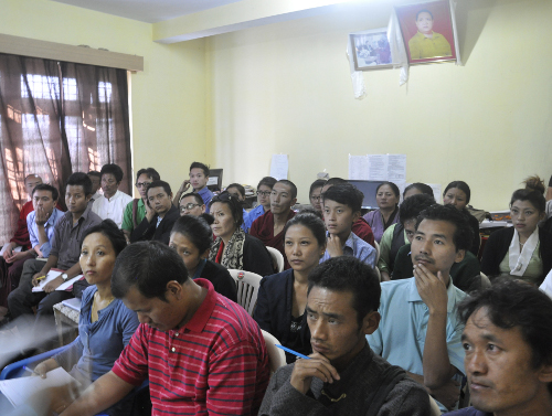 Participants at the workshop on photography and photoshop at Chauntra Tibetan settlement on 18 October.