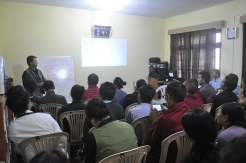 Tashi Phuntsok, Director of Tibet Museum speaking to the Participants during the workshop on 18 October.