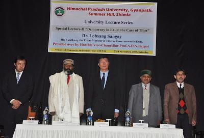 From Left: Kalon Tsering Wangchuk, Vice-Chancellor Dr A.D.N Bajpai and Sikyong Dr Lobsang Sangay.