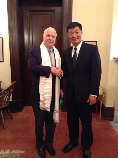 Sikyong Dr Lobsang Sangay with Republican senator John Mc Cain.