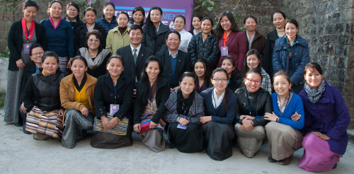 A group photo of the participants with SIkyong Dr Lobsang Sangay.