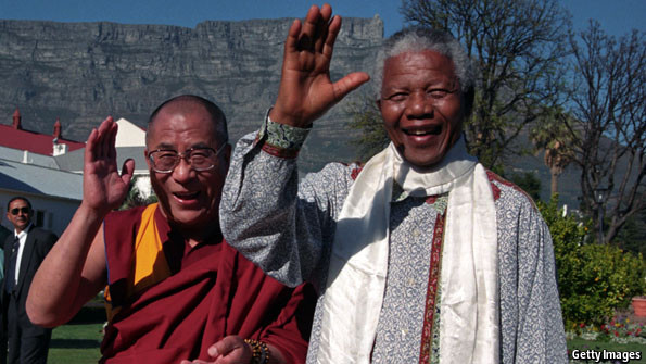His Holiness the Dalai Lama with South African President Nelson Mandela in Cape Town in 1996