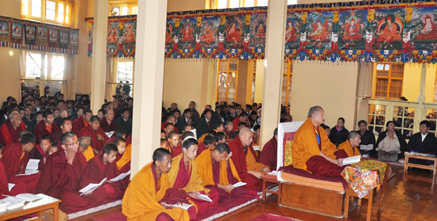 Kirti Rinpoche presides over the special prayer service at Tsuglagkhang, the main temple, in Dharamsala, India, on 27 December 2013/Photo/DIIR/Tenzin Phende