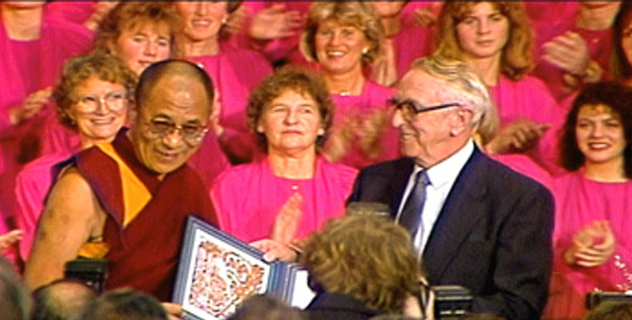 His Holiness the Dalai Lama being awarded the Nobel Peace Prize in Oslo, Norway,  on 10 December 1989.