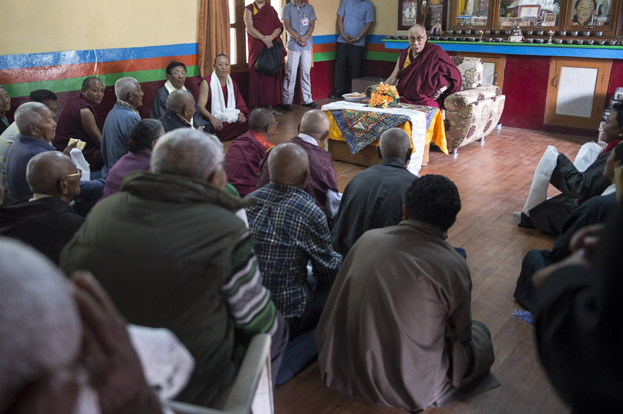 His Holiness the Dalai Lama speaking during his visit to the Old Age Home in the Bandara Tibetan Settlement in Bandara, Maharshtra, India on January 11, 2014. Photo/Tenzin Choejor/OHHDL