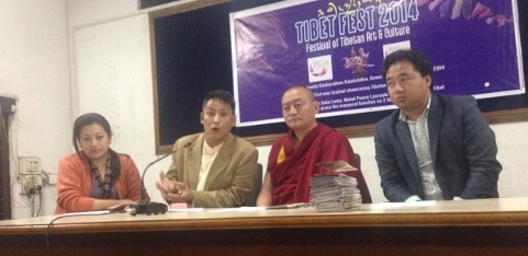 Members of the organising committee of the Tibet Festival at a press conference in Guwahati.
