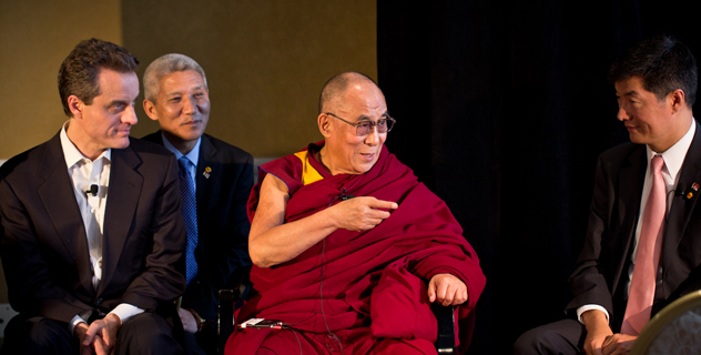 His Holiness the Dalai Lama, Sikyong Dr Lobsang Sangay and Dr Michael interacting at a meeting organised by the Global Leadership Incubator (GLI) in California on 25 February 2014