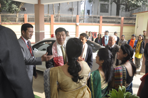 Sikyong being welcomed at the National Law University and Judicial Academy in Guwahati, Assam, on 5 February 2014