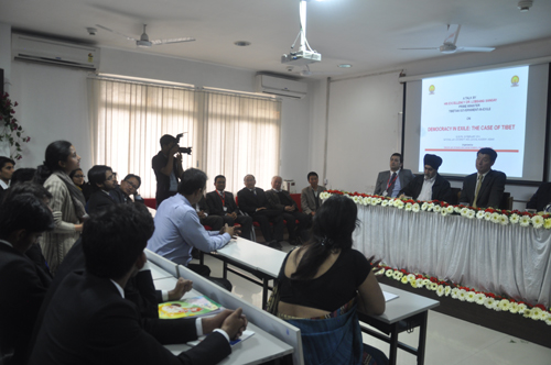 A student interacting with Sikyong at the National Law University and Judicial Academy in Guwahati, Assam, on 5 February 2014
