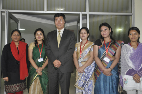 Sikyong with some faculty members after delivering a lecture on Tibet at the National Law University and Judicial Academy in Guwahati, Assam, on 5 February 2014