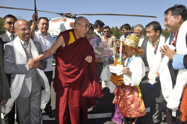 His Holiness the Dalai Lama being welcomed on his arrival in Shillong, Meghalaya, on 3 February 2014