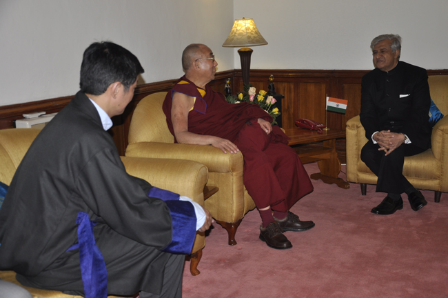 His Holiness the Dalai Lama and Sikyong Dr. Lobsang Sangay with Governor of Assam at his official residence in Shillong on 3 February 2014