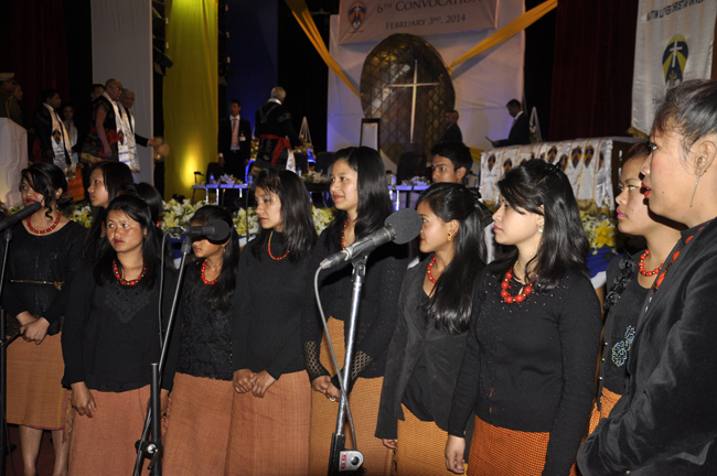 Students' choir perform at the 6th convocation ceremony of the Martin Luther Christian University in Shillong on 3 February 2014