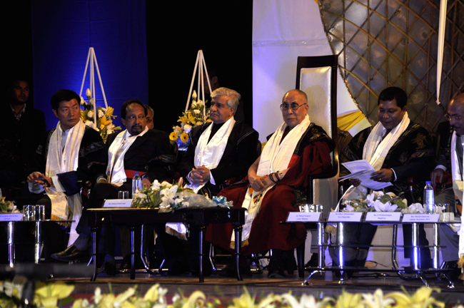 Sikyong Dr Lobsang Sangay (1st left), Governor Dr K K Paul (3rd left), His Holiness the Dalai Lama and Chief Minister Dr Mukul Sangma at the convocation ceremony of Martin Luther Christian University in Shillong on 3 February 2014