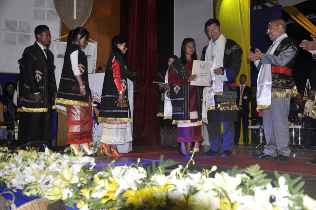 Sikyong Dr. Lobsang Sangay presents degree to a graduate at the 6th convocation ceremony of Martin Luther Christian University in Shillong on 3 February 2014
