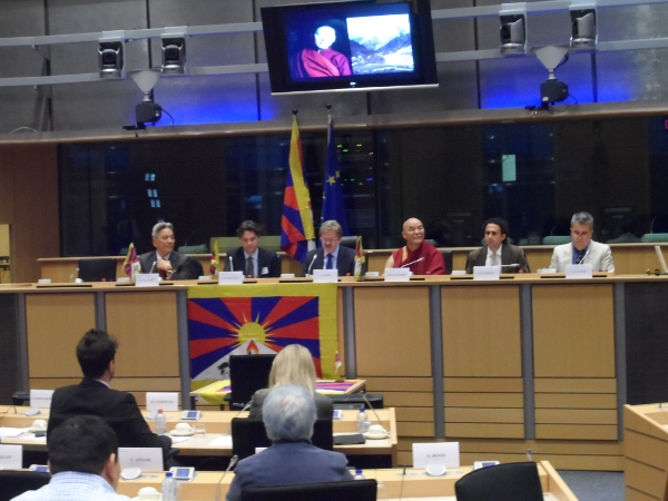 Panellists at the 100th Tibet Inter Group Meeting in the European Parliament.