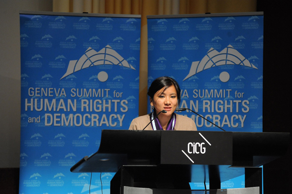 Ms Dhardon Sharling, member of Tibetan Parliament-in-Exile, speaks at the 6th Geneva Summit for Human Rights and Democracy in Geneva, on 25 February 2014