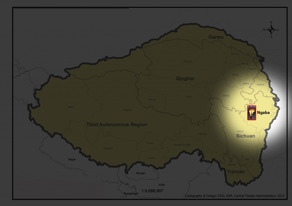 Place marking Dorjee's self immolation near Kirti monastery in Ngaba county, Ngaba prefecture incorporated into China's SIchuan Province. Map Courtesy: Envrionment desk, DIIR and Kunga Phunstok, Tibet Museum.