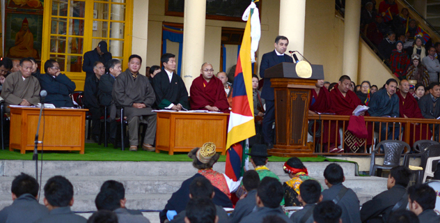 Mr. Henri Malosse, President of the European Economic and Social Committee, addresing the 55th anniversary of the Tiubetan National Uprising Day in Dharamshala on 10 March 2014.