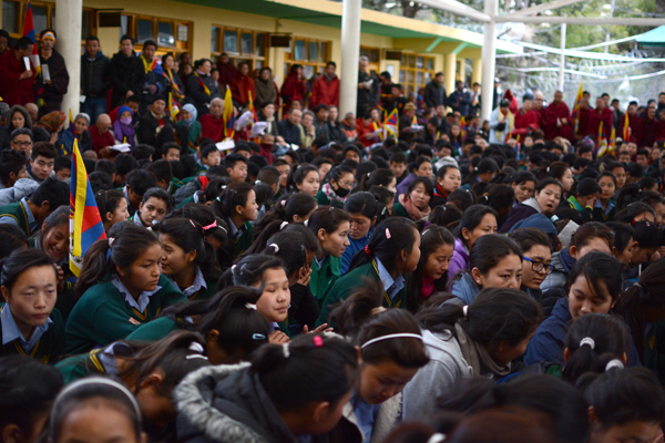 Schoolchildren listening to statement by Sikyong on the 55th anniversary of the Tibetan National Uprising Day in Dharamshala on 10 March 2014