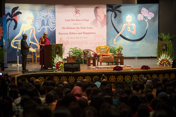 His Holiness the Dalai Lama speaking on 'Ethics and Happiness' at Lady Shri Ram College in New Delhi, India on March 20, 2014. Photo/Tenzin Choejor/OHHDL
