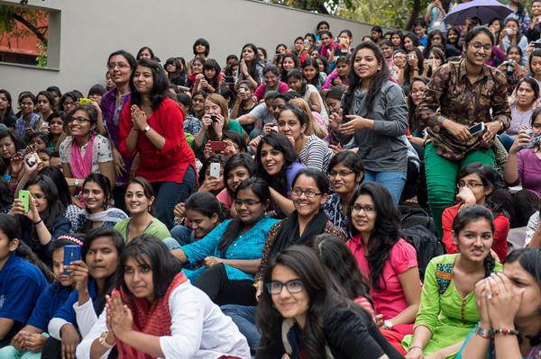 Students in the audience greeting His Holiness the Dalai Lama at the start of his talk at Lady Shri Ram College in New Delhi, India on March 20, 2014. Photo/Tenzin Choejor/OHHDL
