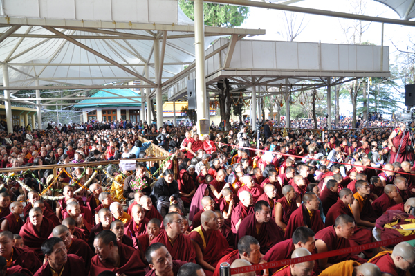 Thousands of Tibetans gather at the main temple in Dharamshala for the long life prayer ceremony