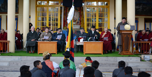 Mr Penpa Tsering, Speaker of the Tibetan Parliament-in-Exile, addressing the 55th Tibetan National Uprising Day in Dharamsala, India, on 10 March 2014/DIIR Photo