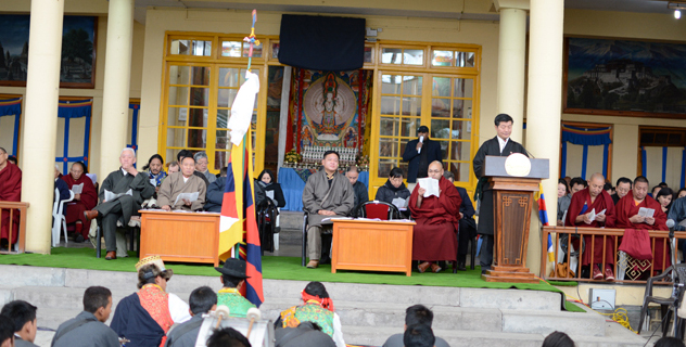 Sikyong Dr. Lobsang Sangay addressing the 55th anniversary of the Tibetan National Uprising Day in Dharamsala, India, on 10 March 2014/DIIR Photo/Tenzin Phende