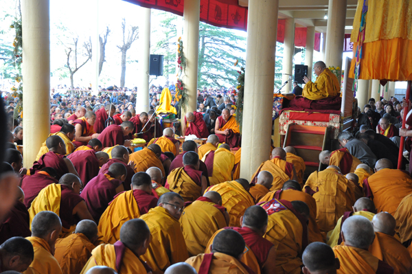 His Holiness the Dalai Lama giving a teaching on the life of Buddha (Jataka tales) as part of the Great Prayer Festival in Dharamshala on 16 March 2014