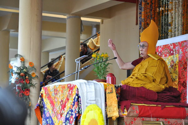 His Holiness the Dalai Lama during the long life prayer ceremony organised by Tibetans from Tsawa region of Tibet in Dharamshala on 16 March 2014