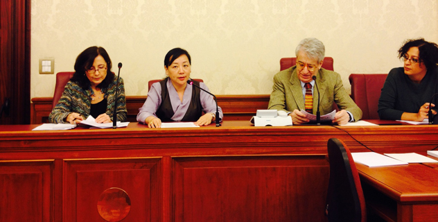 Kalon Dicki Chhoyang testifying before the Senate Special Committee on the Protection and Promotion of Human Rights in Rome, on 5 December 2013.