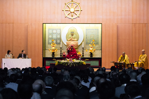 His Holiness the Dalai Lama during a talk on Tibetan Buddhism at Shuchin University in Kyoto, Japan, on 10 April 2014