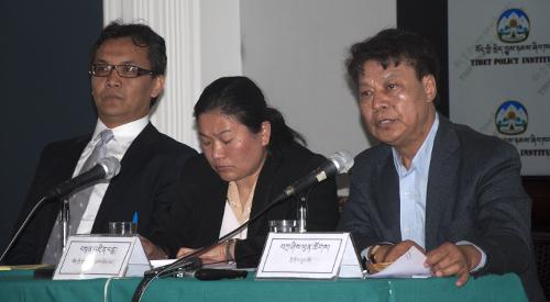 Mr. Kaydor Aukatsang (left) and Tenzin Pema (centre) and Secretary Tashi Phuntsok at the conference. DIIR Photo/ Tenzin Phende