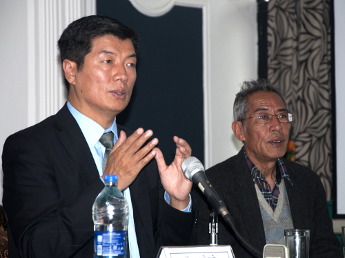 Sikyong Dr. Lobsang Sangay speaking at the two-day conference on CTA's international efforts, 18 April 2014. DIIR Photo/ Tenzin Phende
