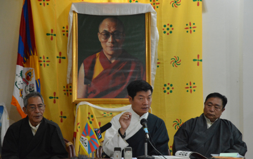 Sikyong Dr.Lobsang Sangay (centre) speaking at the launch, flanked by Mr Thubten Samphel, Director of TPI and Mr. Lobsang, Asst. Director of TPI.DIIR Photo/ Tenzin Phende