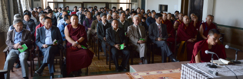 Kalons and officials of the Central Tibetan Administration at the prayer service held on 21 April 2014. DIIR Photo/Tenzin Phende