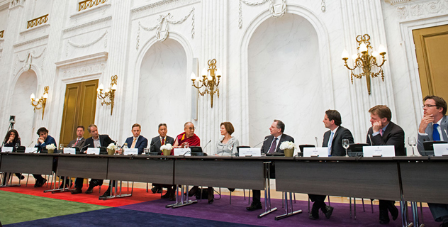 His Holiness the Dalai Lama meeting with members of the Dutch Parliament Foreign Affairs Committee and other MPs at the Dutch Parliament (Tweede Kamer) in the Hague, Holland on May 12, 2014. Photo/Jurjen Donkers