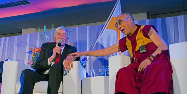 His Holiness the Dalai Lama with his old friend and former Dutch Prime Minister Ruud Lubbers during the seminar on The Heart of Education at Erasmus University in Rotterdam, Holland on May 12, 2014. Photo/Jurjen Donkers