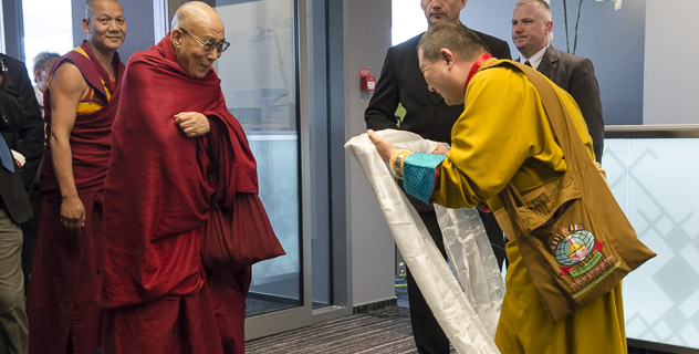 His Holiness the Dalai Lama on his arrival in Riga, Latvia, on 4 May 2014/Photo/OHHDL
