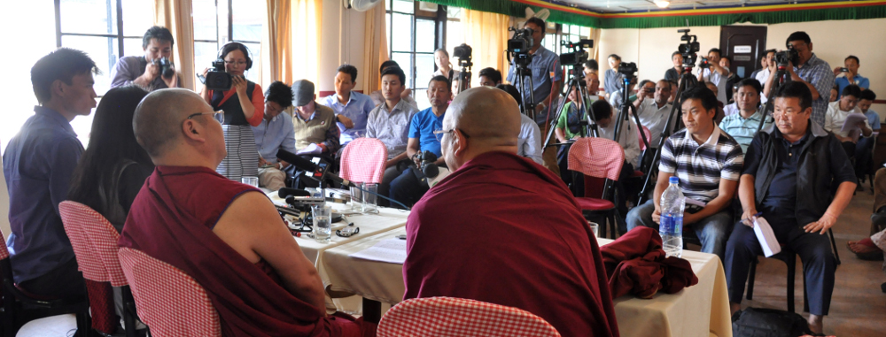 Media persons at the press conference today at the Hotel Tibet.