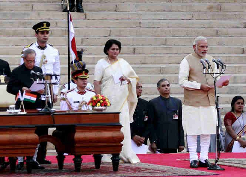 SHri Narendra Modi taking the oath of office as the 15th Prime minister of India from President Shri Pranab Mukherjee on 26 May 2014.