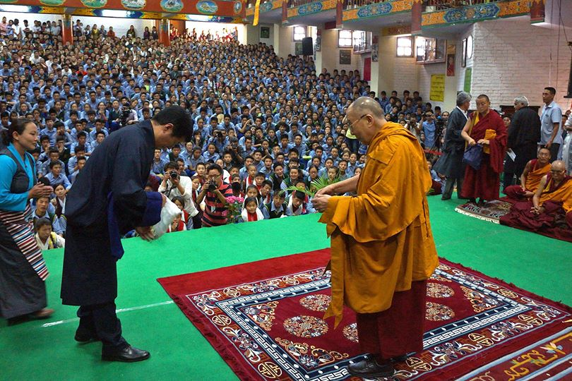 Tibetan political leader Dr. Lobsang Sangay with His Holiness the Dalai Lama during the launch of Middle Way Approach campaign to seek genuine autonomy for the Tibetan people through dialogue with China, in Dharamshala, India, on 5 June 2014/Photo/OHHDL