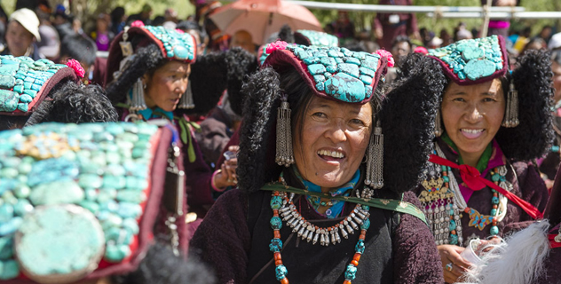 Local women in traditional dress attending the first day of His Holiness the Dalai Lama's three day teaching in Padum, Zanskar, J&K, India on June 23, 2014. Photo/Tenzin Choejor/OHHDL